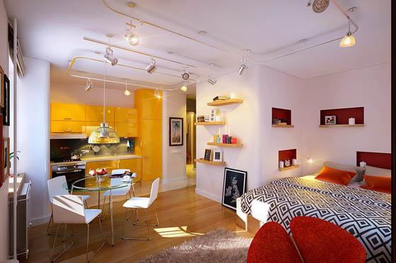 Cheerful Small Apartment with Vivid Ambiance