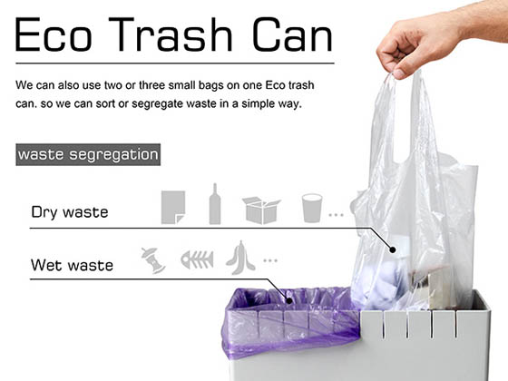 Eco Trash Can: an Innovative Trash Can Helps to Reuse Plastic Bag and Sort Waste