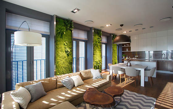 Beautiful Apartment with Luminous Vertical Gardens