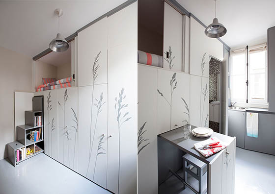 unbelievably tiny but functional apartment in paris 8m2