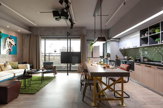 Playful and Industrial Looking Apartment in Taiwan