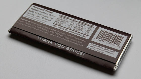 A Sweet Thank You: Unusual Resumé on a Chocolate Bar Wrapper