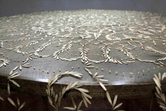 Heirloom: Unusual Tablecloth with Lace-like Patterns Made of Thousands of Seeds