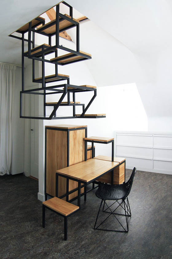 Objet élevé: A Connection Between Two Floors and Offers Space to Work, Collect and Store