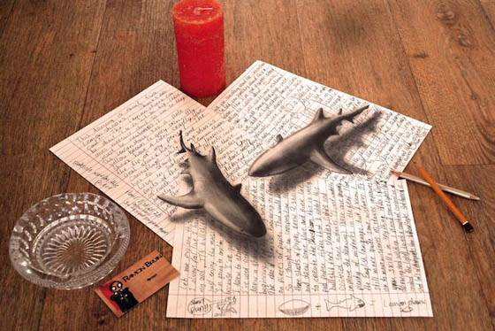 optical illusion 3d drawings bruin illusions drawing ramon pencil paper cool amazing drawn dibujos dessin shark sketch swan anamorphic check