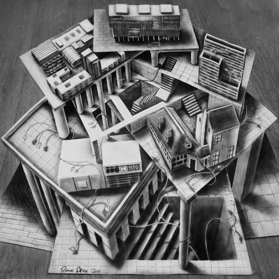 3d optical illusion drawings ramon bruin illusions drawing pencil sketches un amazing brain estate anamorphic hand