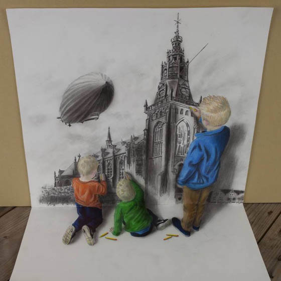 Optical Illusion: New 3D Drawings by Ramon Bruin