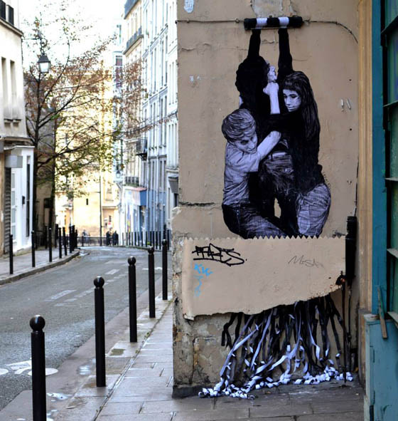 Humor Site-Specific Street Art in Paris by French Artist 'Levalet'