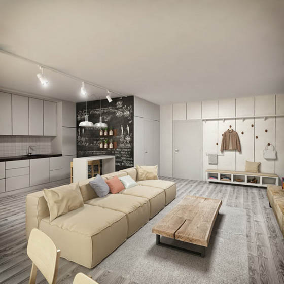 Light Tone Apartment in Ukraine by Kley Design