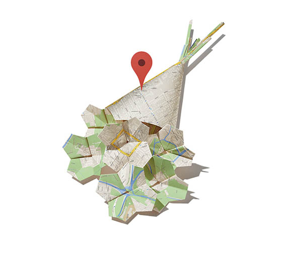 Google Map Origami by BakkenDesign