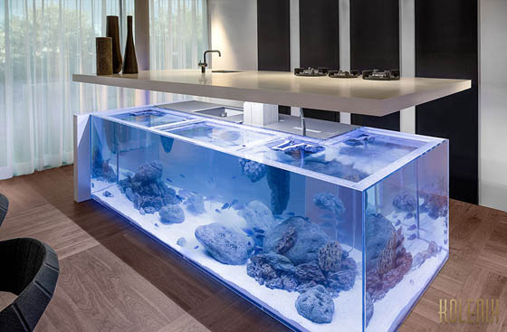 Ocean Kitchen: Giant Aquarium Kitchen Island