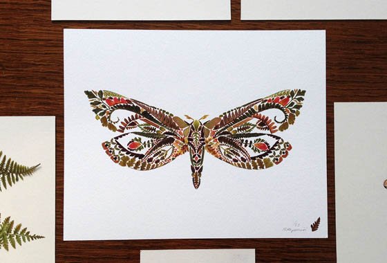 Incredible Intricate Pressed Fern Leaf Illustrations by Helen Ahpornsiri