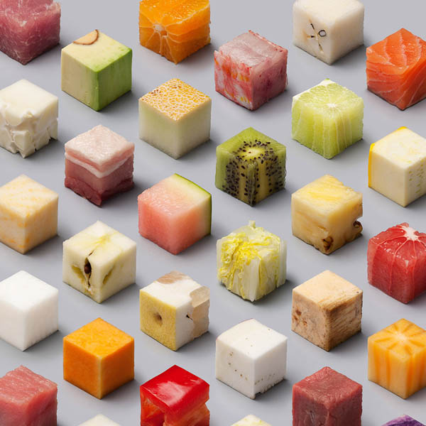 Cube Food: A Variety of Raw Foods Cut into 98 Perfect Cubes