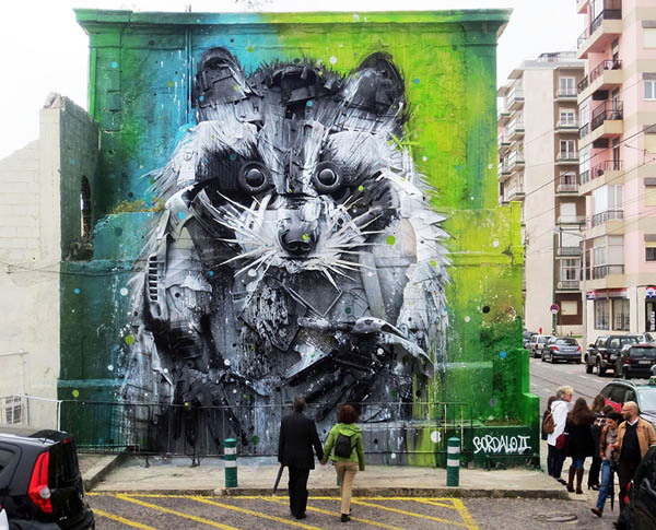 Trash and Found Object Murals by Bordalo II