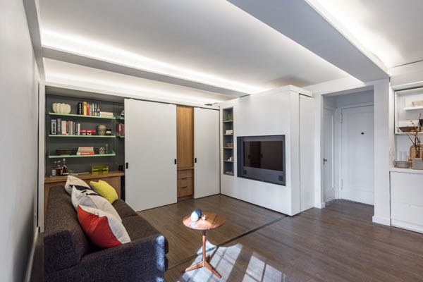Five to One Apartment Utilizing Sliding Wall to Maximize Space