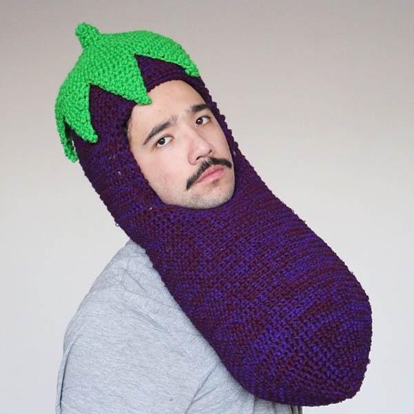 Food on Head: Food Shape Crocheted Headwear by Phil Ferguson