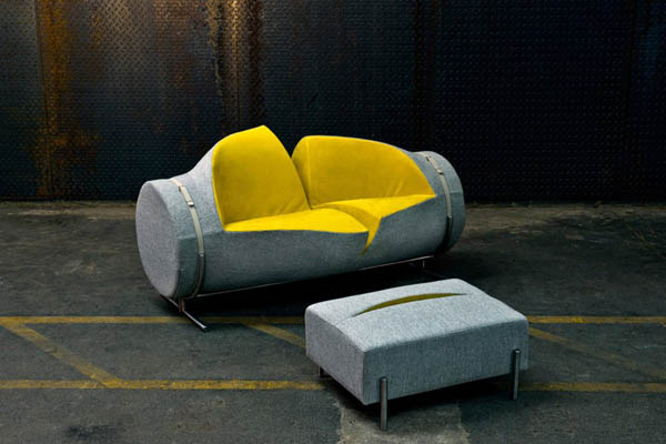 Slashed: Playful Sofa and Ottoman Set by Charlotte Kingsworth