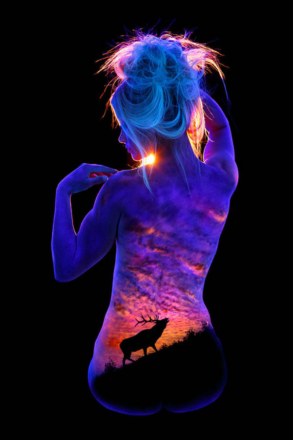 Bodyscape: Stunning Landscape Paint on Human Body which Glow Under Black Lights