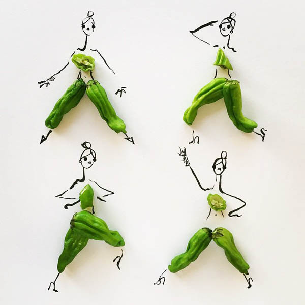 Playful Fashion Sketches Using Various Foods as Clothes
