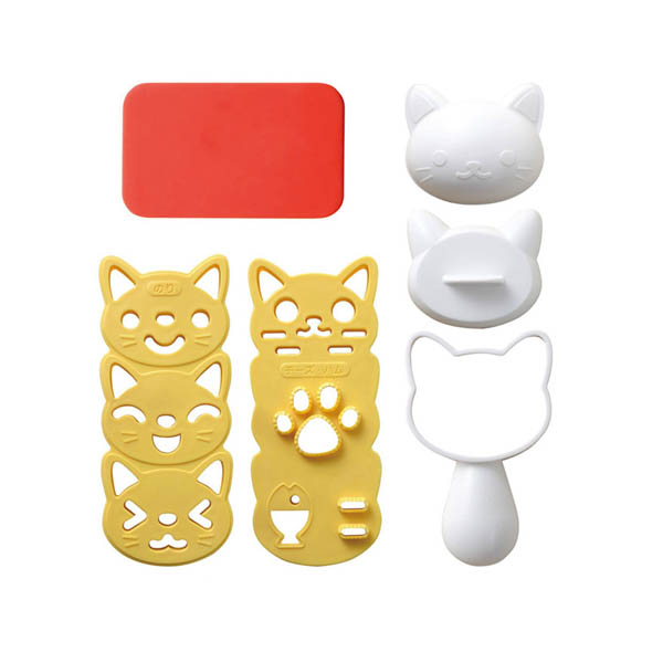 Cute Kitties Rice Ball Mold and Seaweed Cutter