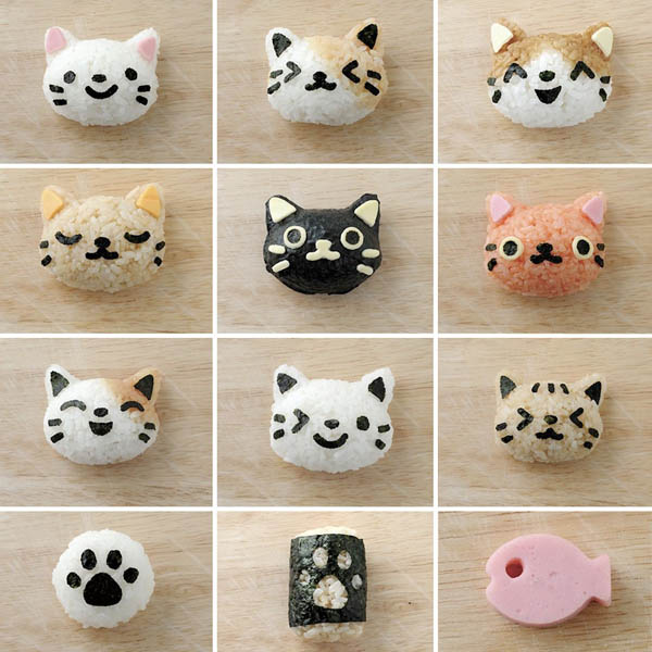 Cute Kitties Rice Ball Mold and Seaweed Cutter