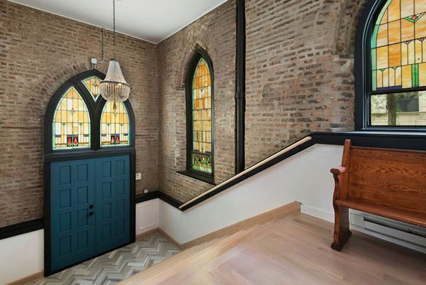 Beautiful Home Converted From an Empty Church with Giant Stained Glass