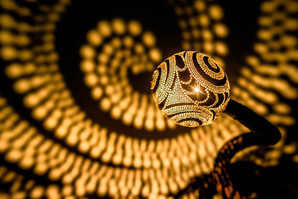 Spectacular Handcraft Lamp Head Made of Coconut Shell Casting Dazzling Patterns of Light