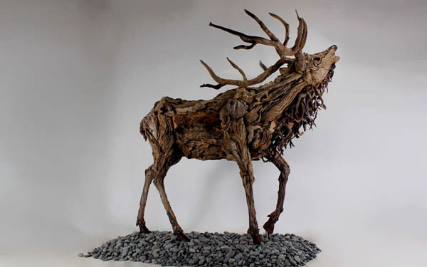 Stunning Sculptures Made from Little Pieces of Driftwood