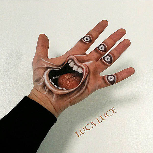 Optical Illusion Drawing on Palm by Luca Luce