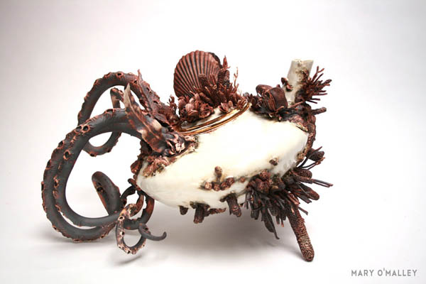 Bottom Feeders: Wild Porcelain Creation Covered with Marin Life