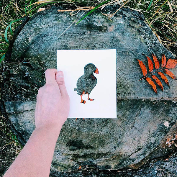 Creative Animal Paper Cutouts Colored with Nature Scenes