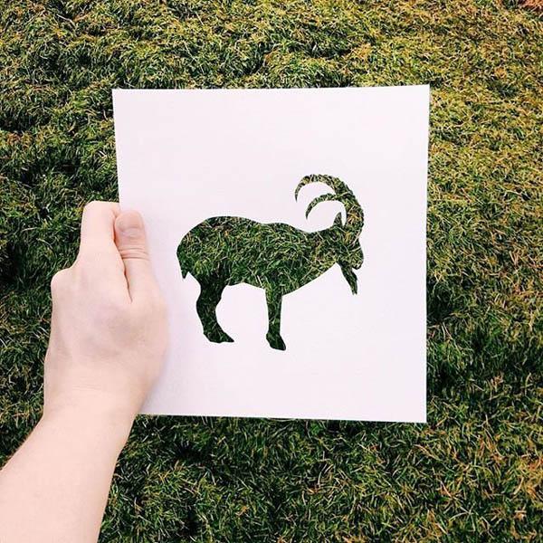Creative Animal Paper Cutouts Colored with Nature Scenes