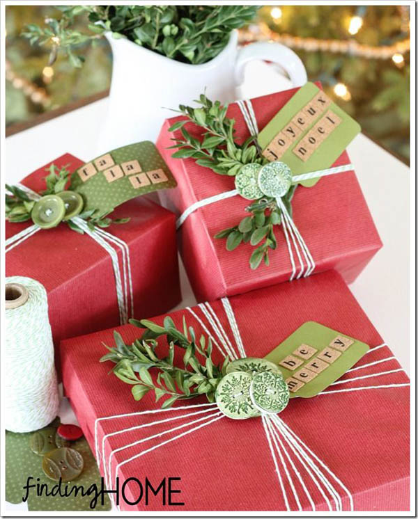 Gift wrap ribbon designs on christmas