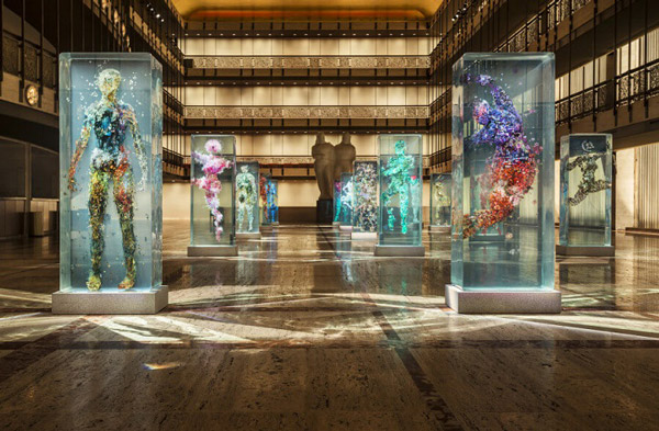 Fantastic 3D Human Collage Encased within Layers of Glass