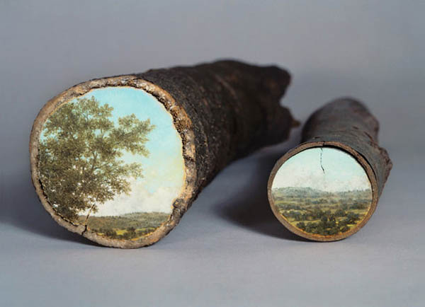 World in Tree Logs: Beautiful Log Painting by Alison Moritsugu
