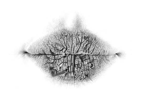 Worlds on Lip: Surreal Pencil Drawing by Christo Dagorov