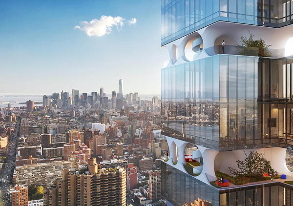 Futuristic Building With Private Sky Garden in Manhattan