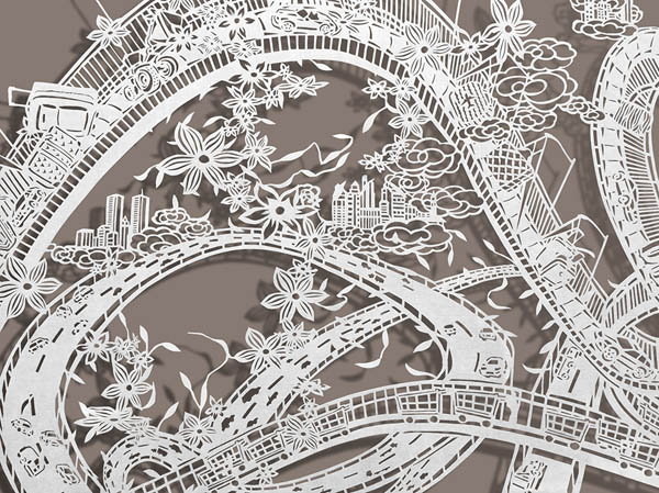 Incredibly Detailed Twisting Rollercoasters Paper-Cut by Bovey Lee