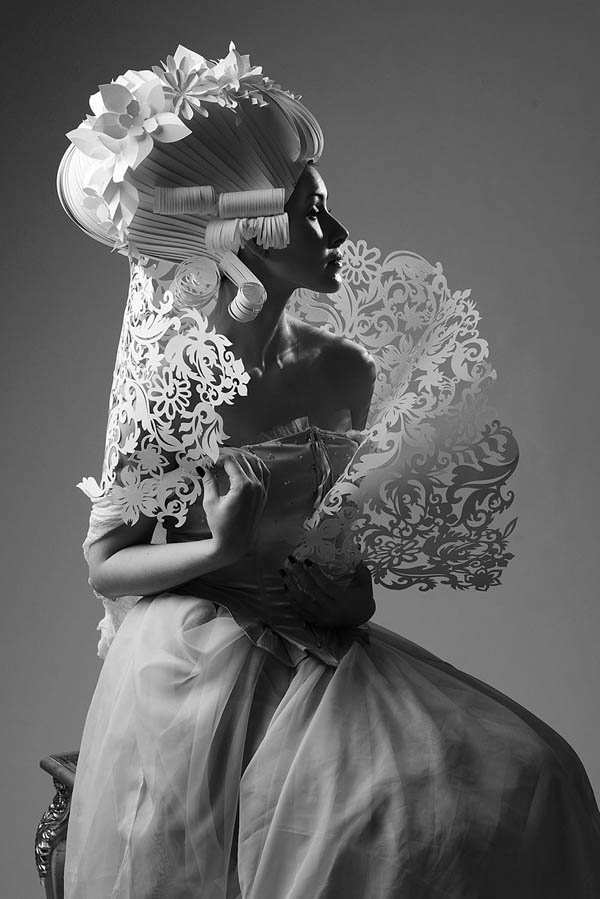 Intricate Baroque Paper Wigs by Russian Artist Asya Kozina