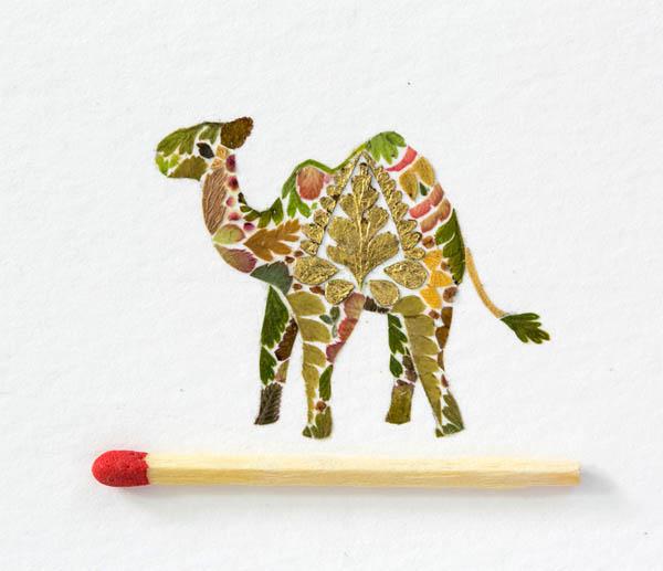 Wildlife Illustrations Made of Pressed Plant by Helen Ahpornsiri