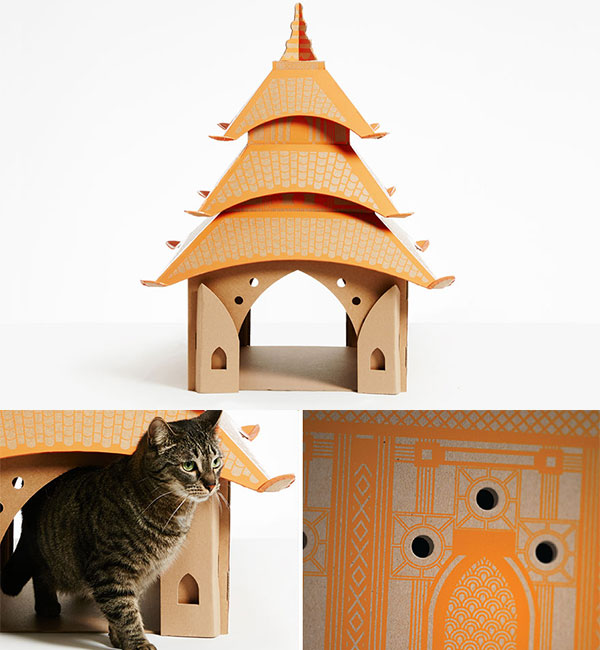 Landmark Playhouse Cardboard Cat Dwellings Replicate 7 World S Famous Architectural Landmarks