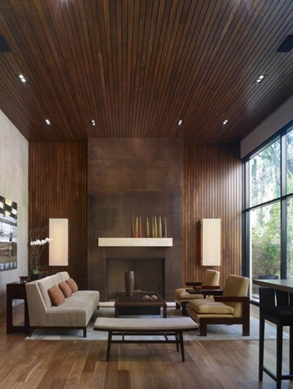Modern Wood Paneling ~ Modern home design with wood panel wall swan