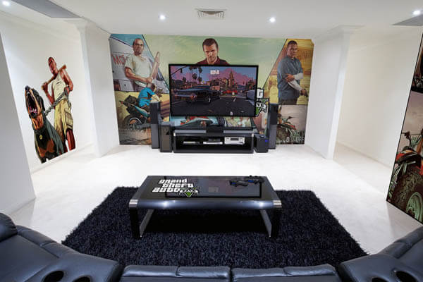 epic video game room with immersive wall mural