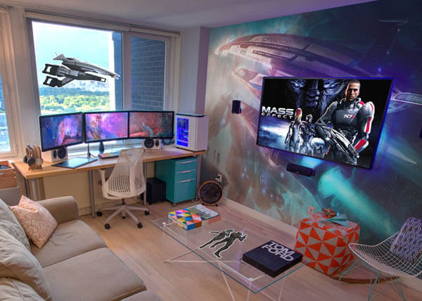 Epic Video Game Room with Immersive Wall Mural – Design Swan