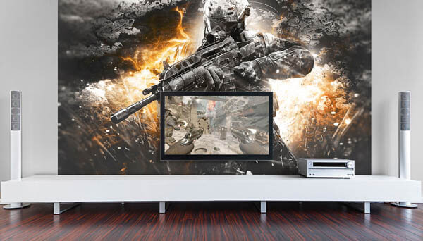 Epic Video Game Room With Immersive Wall Mural Design Swan