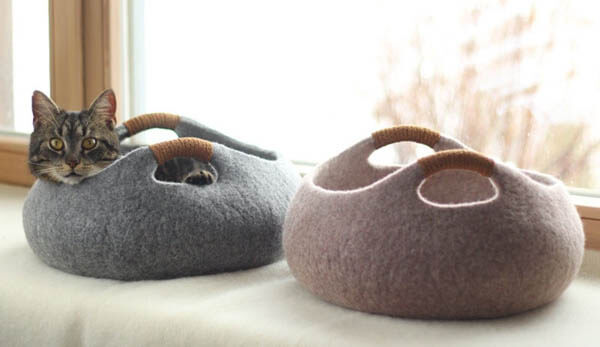 Contemporary Cat Bed and Cat Cave by Elevele