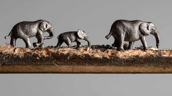 Elephant Walk: Stunning Macro Sculpture Carved Out of Pencils