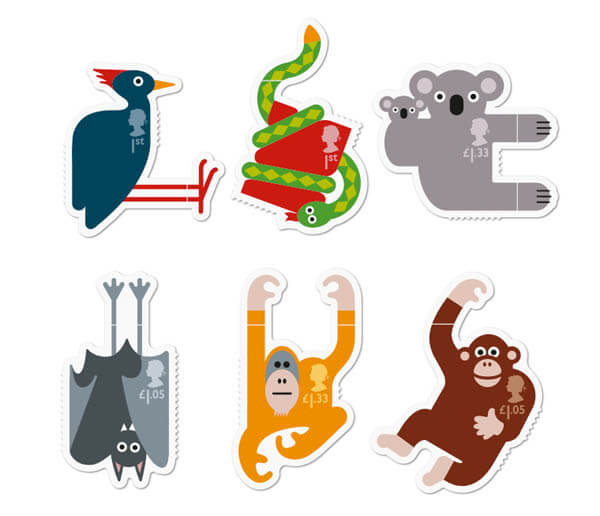 Playful Animal Stamps Which Hang On Your Envelop