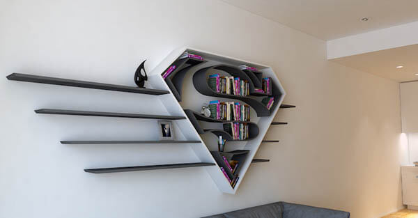 Iconic Superhero Logo Inspired Shelves