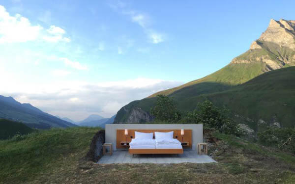 Open-air Hotel Room in Swiss With No Walls or Roof